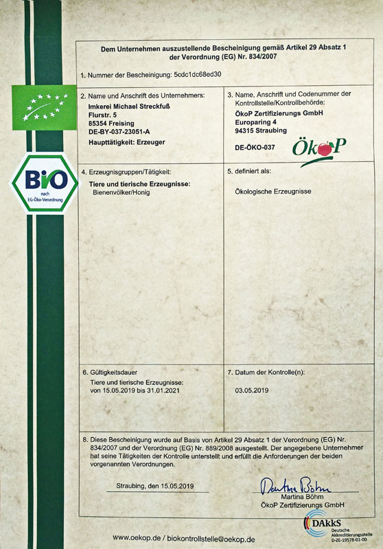 Unser aktuell gültiges BIO-Zertifikat