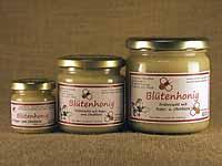 Heller,  streichzarter Blütenhonig im 60g-,  250g- und 500g-Glas