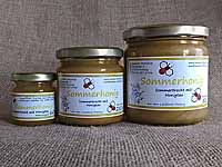 Gelber,  streichzarter Sommerhonig im 60g-,  250g- und 500g-Glas